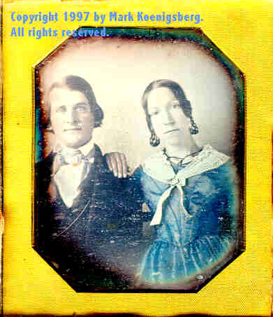 Sixth-plate daguerreotype of Husband and Wife, Tinted in Blue
