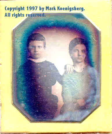 Sixth-plate daguerreotype of Brother and Sister, Tinted in Blue