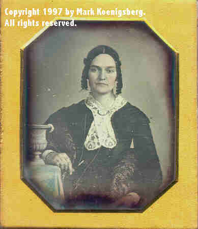 Sixth-plate daguerreotype of Woman with the Brady Urn