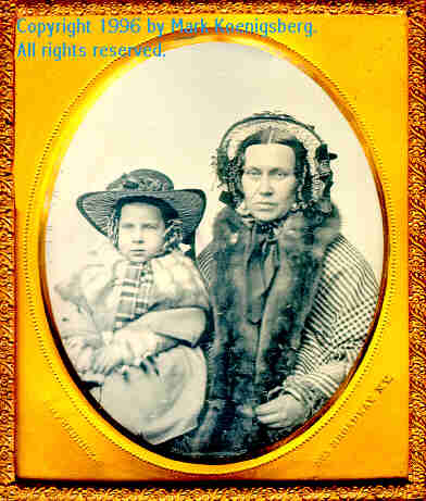 Sixth-plate daguerreotype of Mother and Child in Bonnets, by Fredericks