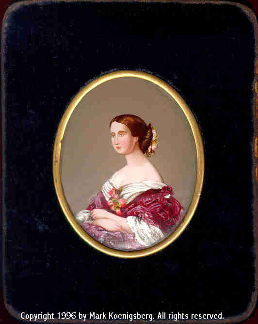 Quarter-plate Velvet Case with Oval-Inset Reverse-Painted Portrait of Woman