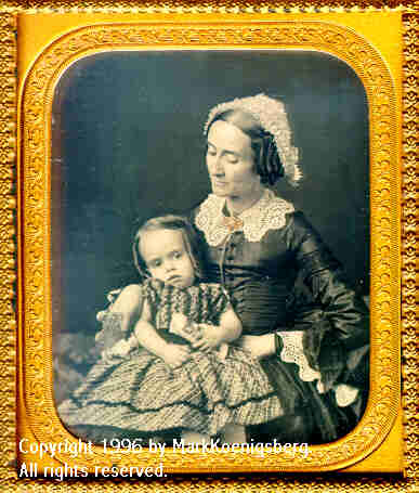 Sixth-plate daguerreotype of Woman Looking  off to side and Child