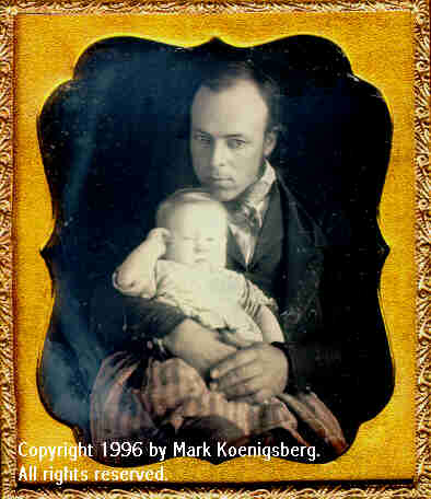 Sixth-plate daguerreotype of Man Looking  down at Child