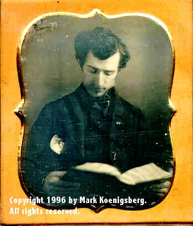 Sixth-plate daguerreotype of Man with Book in Lap