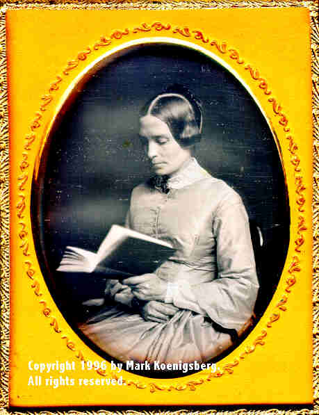 Quarter-plate daguerreotype of Woman Reading Book