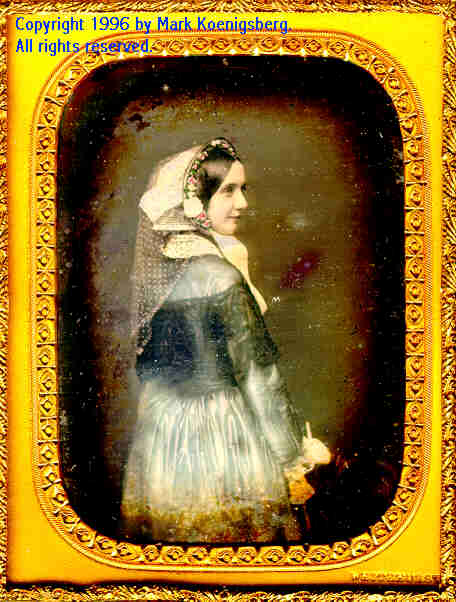 Quarter-plate daguerreotype of Woman in Blue Dress Turned to Side