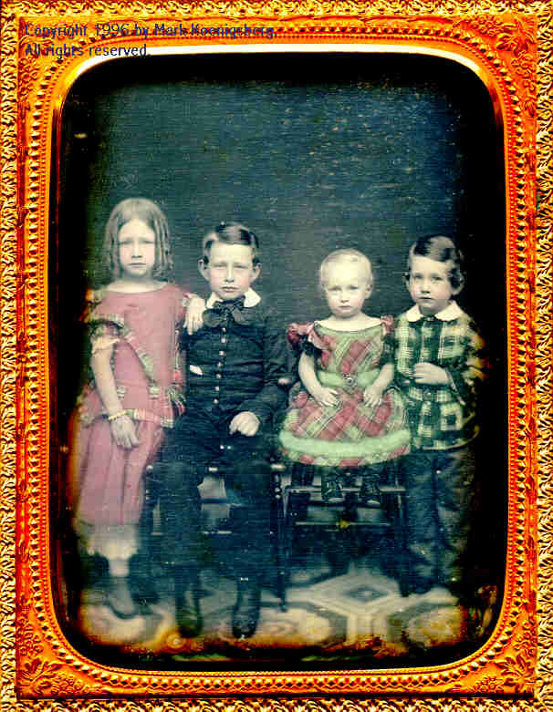 Half-plate daguerreotype of Four Children in Red and Green