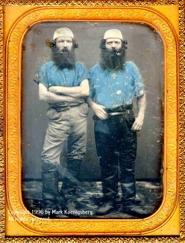 Half-plate daguerreotype of Two Miners or Whalers in Blue