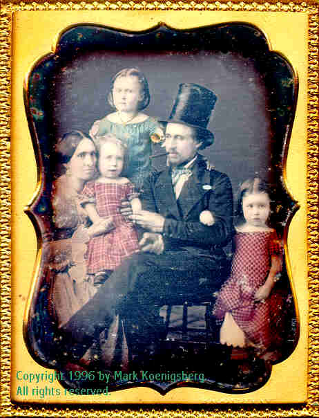 Quarter-plate daguerreotype of Family of Five in Red and Blue Taken by Williamson
