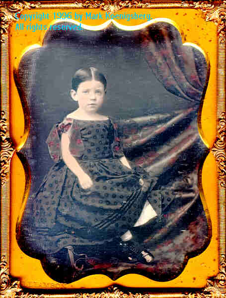 Quarter-plate daguerreotype of Girl on Couch in Red Taken by Williamson