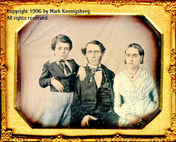 Quarter-plate early daguerreotype of Family of Three in Blue