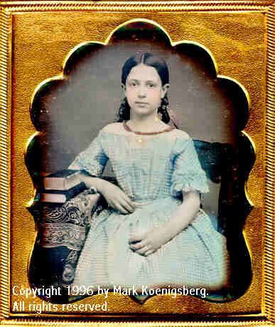 Sixth-plate daguerreotype of Pretty Girl in Blue