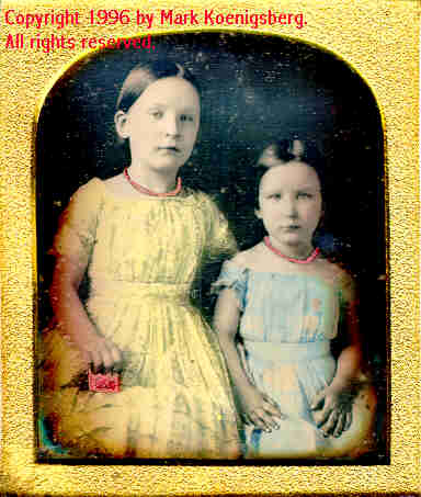 Sixth-plate daguerreotype of Two Sisters in Yellow and Blue