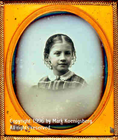 Sixth-plate daguerreotype of Pretty Girl and Blue Background